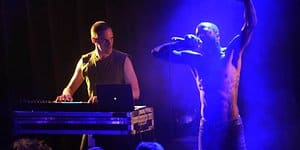 Death-Grips-Keyboarder Andy Morin und Rapper MC Ride im Stadtgarten