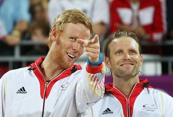 Jonas Reckermann (r.) und sein Beachvolleyball-Partner Julius Brink.