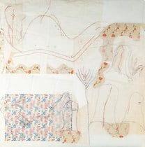 Jo Baer, Corner Stone, 1992, conte, pencil, papers on tracing papers on board,150 x 150 cm.